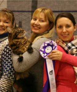 На декабрьской выставке в Омске Юпитер занял 2-е место в WCF -ринге, среди 25 сильнейших животных выставки! Получил отличные оценки и закрыл титул Чемпиона WCF!